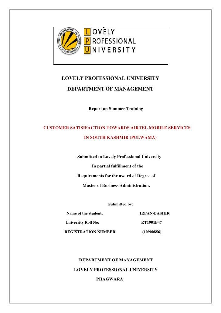 LOVELY PROFESSIONAL UNIVERSITY          DEPARTMENT OF MANAGEMENT                       Report on Summer Training    CUSTOM...