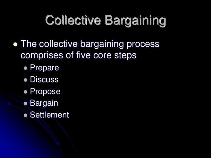 Collective Bargaining   The collective bargaining process    comprises of five core steps     Prepare     Discuss     ...