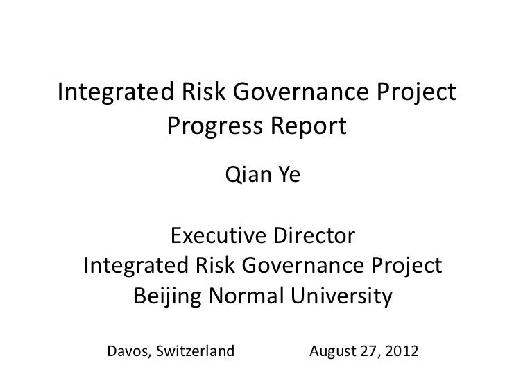 Integrated Risk Governance Project         Progress Report                    Qian Ye           Executive Director  Integr...