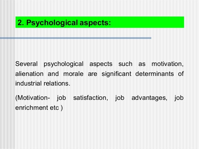 Several psychological aspects such as motivation, alienation and morale are significant determinants of industrial relatio...
