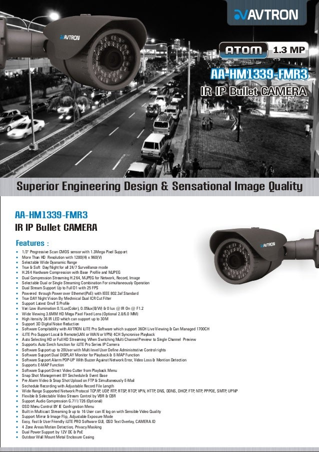 1.3 MP  AA-HM1339-FMR3 IR IP Bullet CAMERA  Superior Engineering Design & Sensational Image Quality AA-HM1339-FMR3 IR IP B...