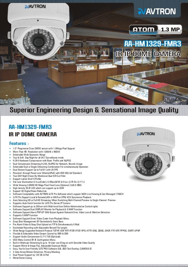 1.3 MP  AA-HM1329-FMR3 IR IP DOME CAMERA  Superior Engineering Design & Sensational Image Quality AA-HM1329-FMR3 IR IP DOM...