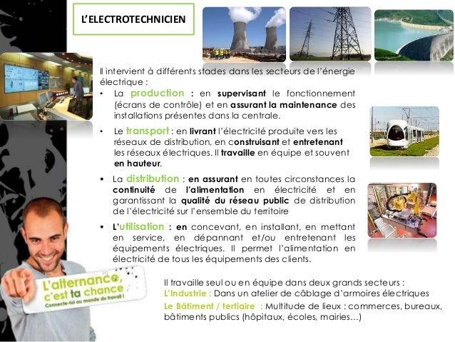 Fiche metier electricien industriel
