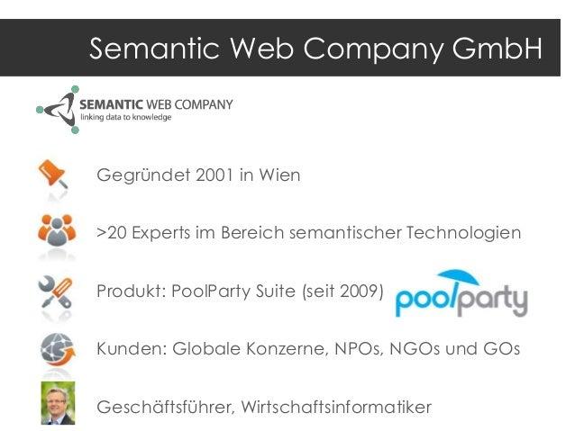 Semantic Web Company GmbH  Gegründet 2001 in Wien >20 Experts im Bereich semantischer Technologien Produkt: PoolParty Suit...