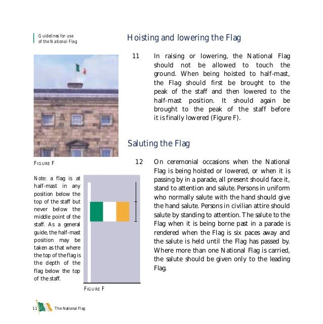 The National Flag11 Hoisting and lowering the Flag 11 In raising or lowering, the National Flag should not be allowed to t...