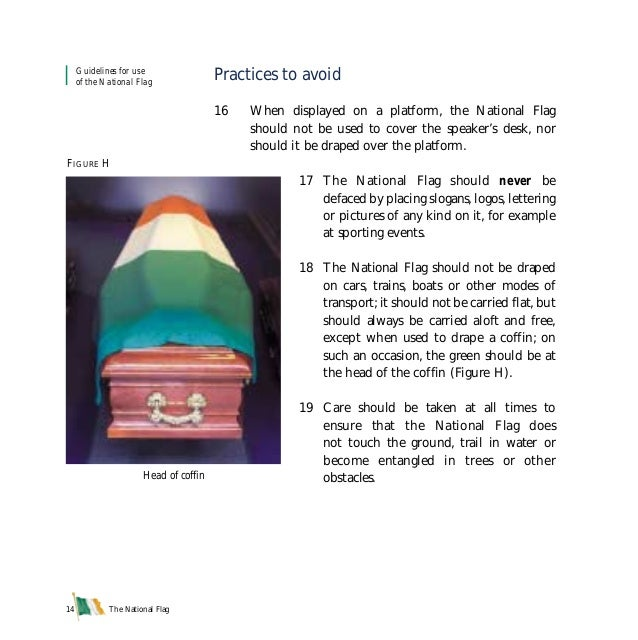 The National Flag14 Practices to avoid 16 When displayed on a platform, the National Flag should not be used to cover the ...
