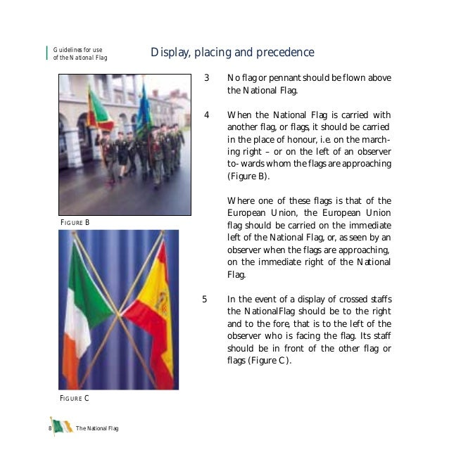 The National Flag8 Display, placing and precedence 3 No flag or pennant should be flown above the National Flag. 4 When th...