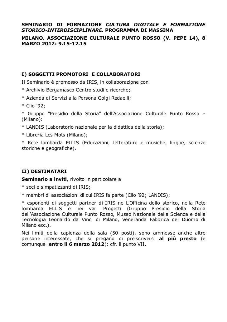 SEMINARIO DI FORMAZIONE CULTURA DIGITALE E FORMAZIONESTORICO-INTERDISCIPLINARE. PROGRAMMA DI MASSIMAMILANO, ASSOCIAZIONE C...