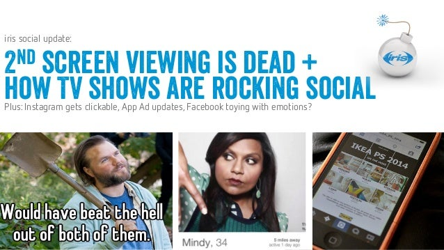 1 1 Confidential © 2014 Confidential © 2014 JULY 2014 iris social update: 2nd screen viewing is dead + how TV shows are rock...