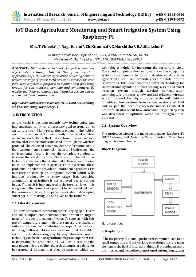 IoT Based Agriculture Monitoring and Smart Irrigation System using Ra…