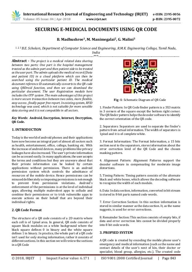 IRJET- Securing E-Medical Documents using QR Code