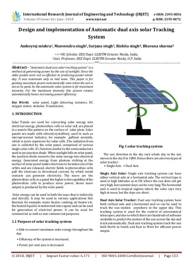 Irjet Design And Implementation Of Automatic Dual Axis Solar Tracking