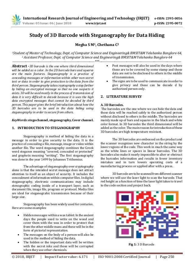 IRJET- Study of 3D Barcode with Steganography for Data Hiding