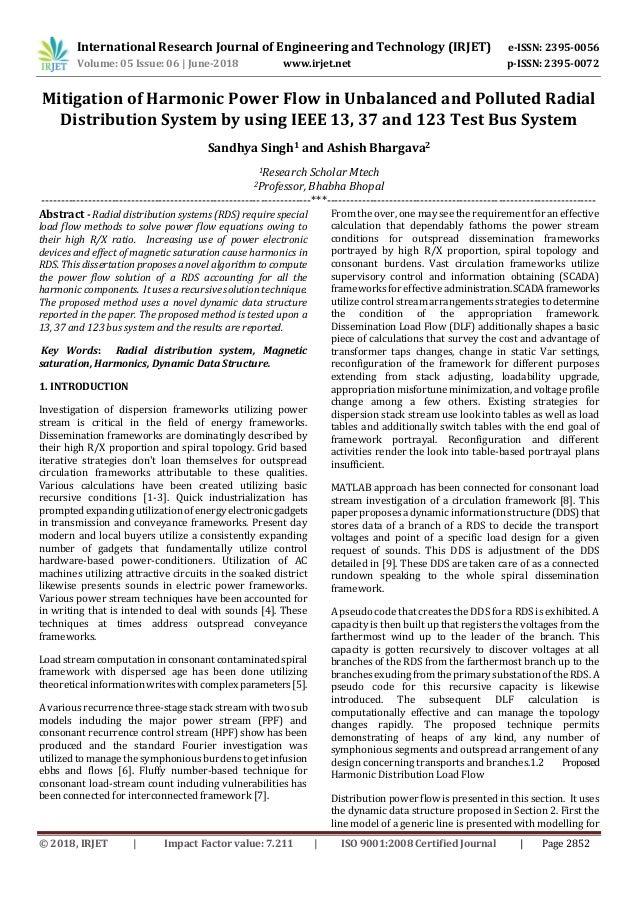 IRJET-Mitigation of Harmonic Power Flow in Unbalanced and
