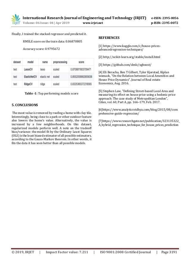 IRJET- House Rent Price Prediction