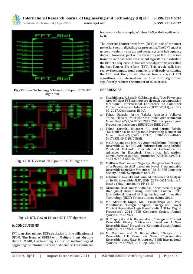 IRJET- VLSI Architecture for Reversible Radix-2 FFT Algorithm using P…
