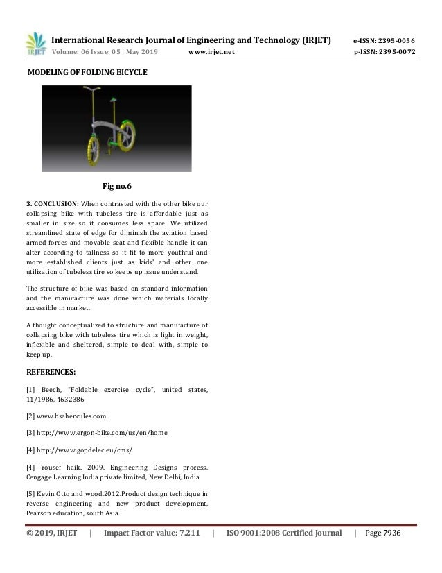 Irjet Design And Fabrication Of Folding Bicycle