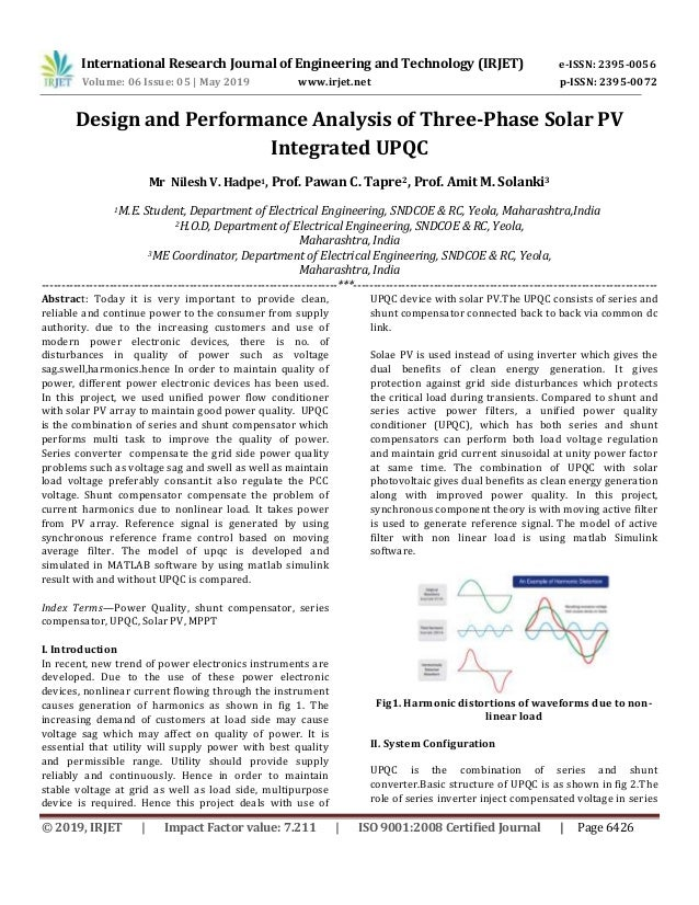 Irjet Design And Performance Analysis Of Three Phase Solar Pv Integr