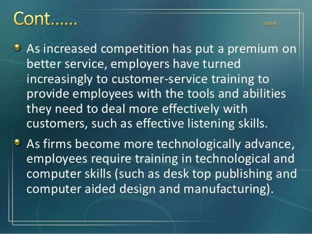 Training usually involves teaching operational or technical employees how to do their jobs more effectively and/or efficie...