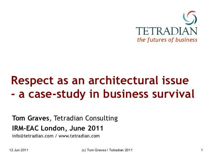 Respect as an architectural issue - a case-study in business survival Tom Graves , Tetradian Consulting IRM-EAC London, Ju...