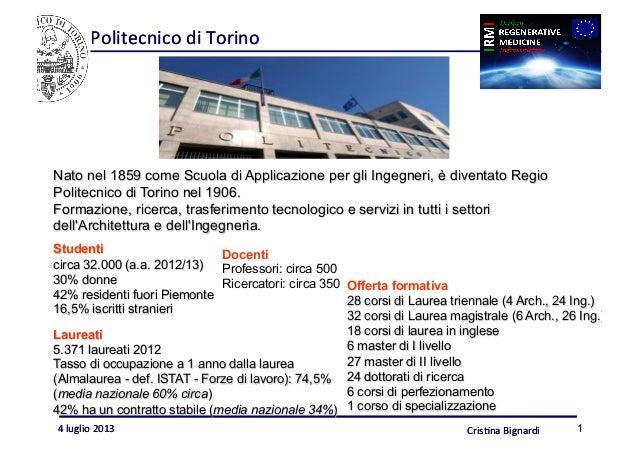 Politecnico  di  Torino   Cris/na  Bignardi  4  luglio  2013   1 Politecnico  di  Torino   Nato nel ...