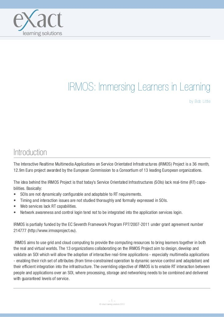 IRMOS: Immersing Learners in Learning                                                                                     ...