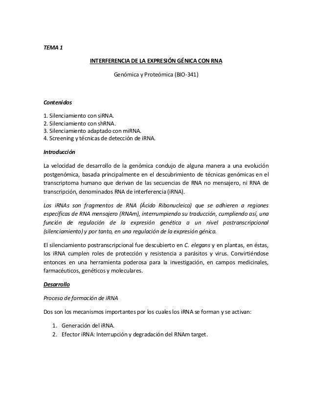 TEMA 1INTERFERENCIA DE LA EXPRESIÓN GÉNICA CON RNAGenómica y Proteómica (BIO-341)Contenidos1. Silenciamiento con siRNA.2. ...