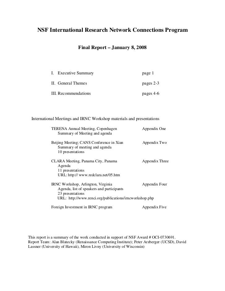 NSF International Research Network Connections Program                            Final Report – January 8, 2008          ...