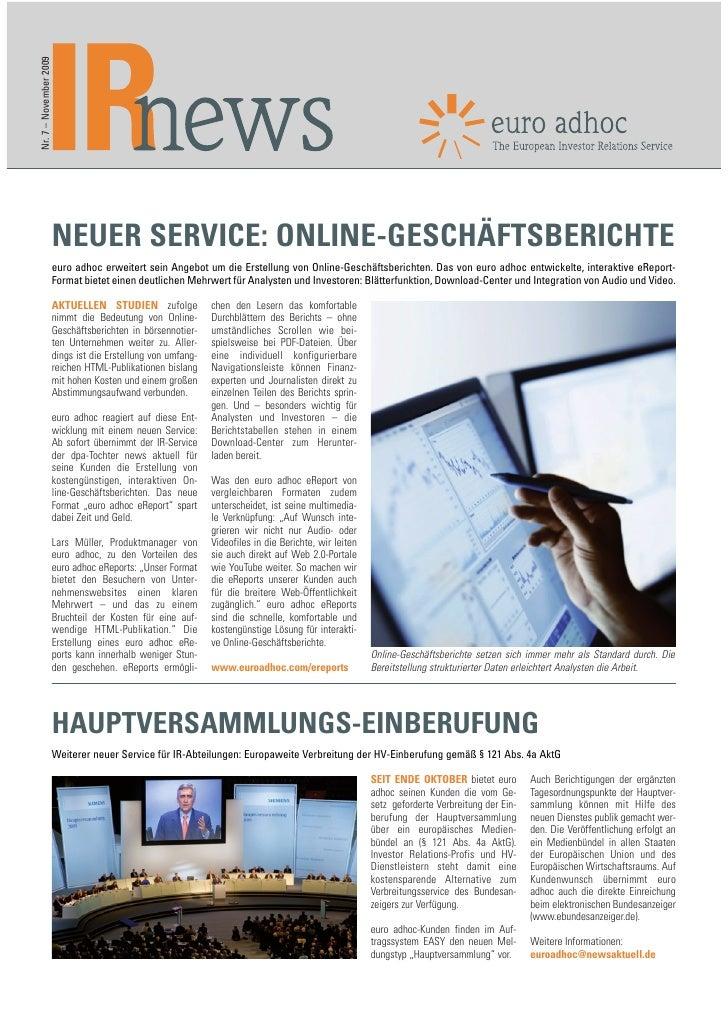 Nr. 7 – November 2009                             NEUER SERVICE: ONLINE-GESCHÄFTSBERICHTE                         euro adh...