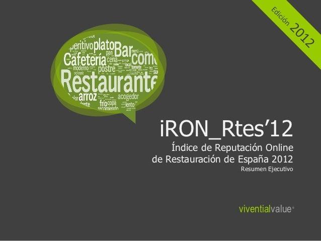 iRON_Rtes'12    Índice de Reputación Onlinede Restauración de España 2012                   Resumen Ejecutivo             ...