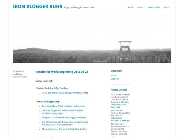 ://HamburgJanuar 201361 Iron Blogger_innen1.400 Beiträge320 Tacken1Treffen85 Spende