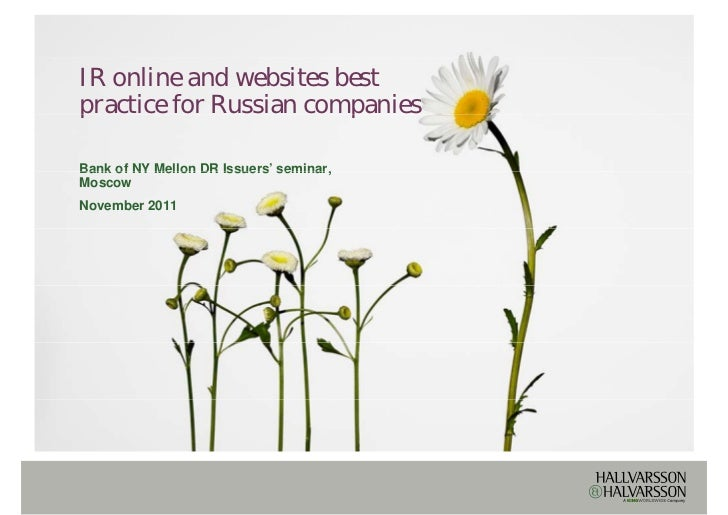 IR online and websites best p practice  Based on research from H&H Webranking and more than 10 years of experience