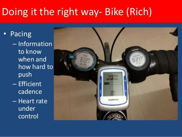 Doing it the right way- Bike (Rich)    Heart rate - how long can you sustain an effort?    Leaving some in reserve for the...