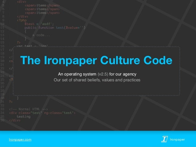Ironpaper.com Ironpaper An operating system (v2.5) for our agency Our set of shared beliefs, values and practices The Iron...