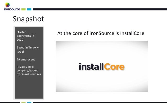 Snapshot  Started  operaons in                                    At the core of ironSource is Install...