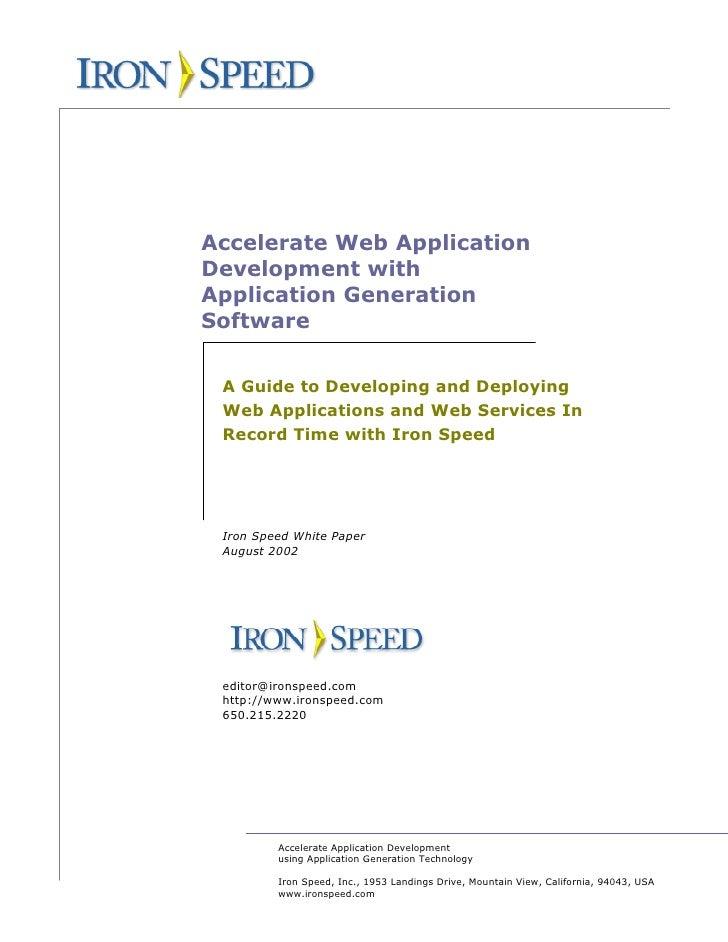 Iron speed appgeneration