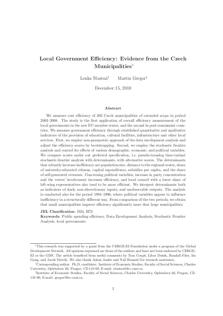 Local Government Efficiency: Evidence from the Czech                         Municipalities∗                                ...
