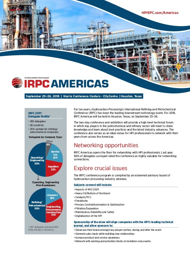 Hydrocarbon processing events: refining, petrochemicals, gas.