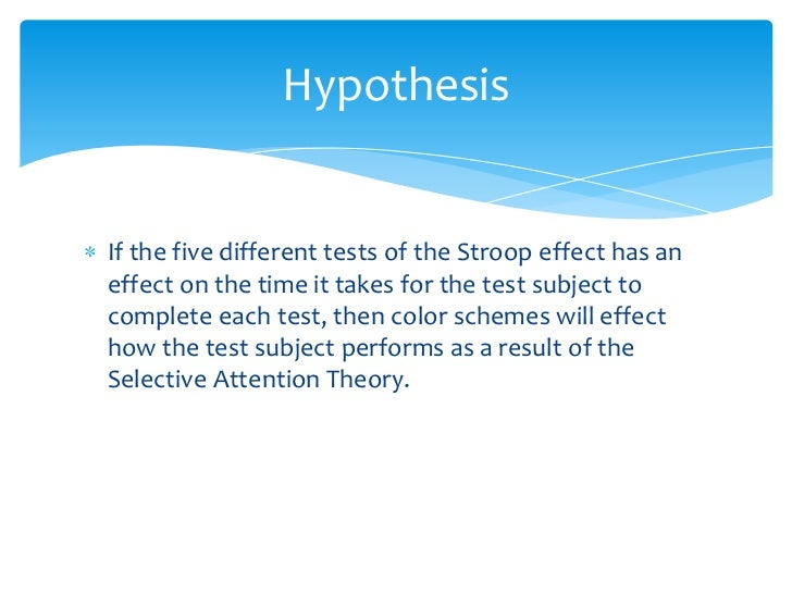 selective attention theory stroop effect