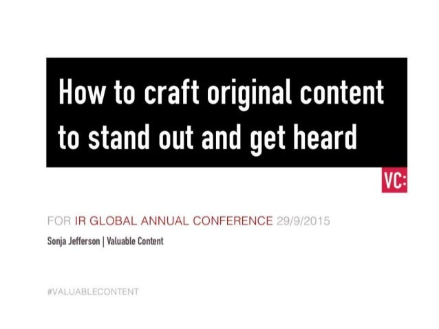 How to craft original content to stand out and get heard