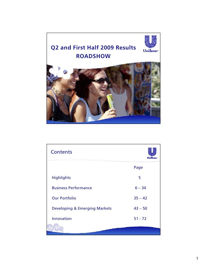 Q2 and First Half 2009 Results         ROADSHOW     Contents                                  Page  Highlights            ...