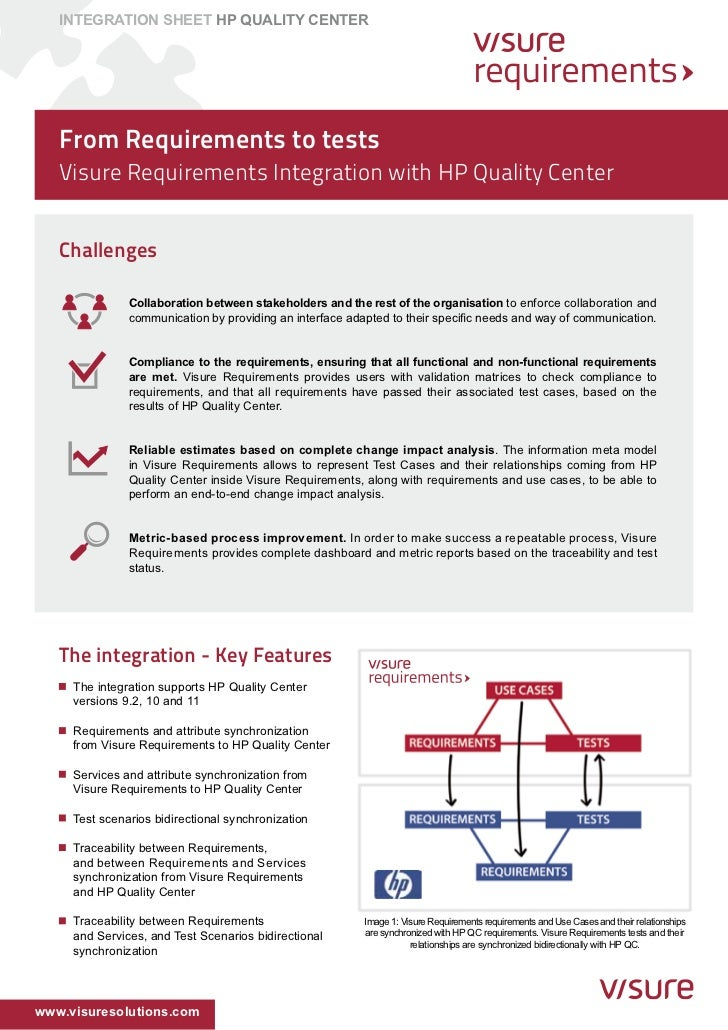 INTEGRATION SHEET HP QUALITY CENTER   From Requirements to tests   Visure Requirements Integration with HP Quality Center ...