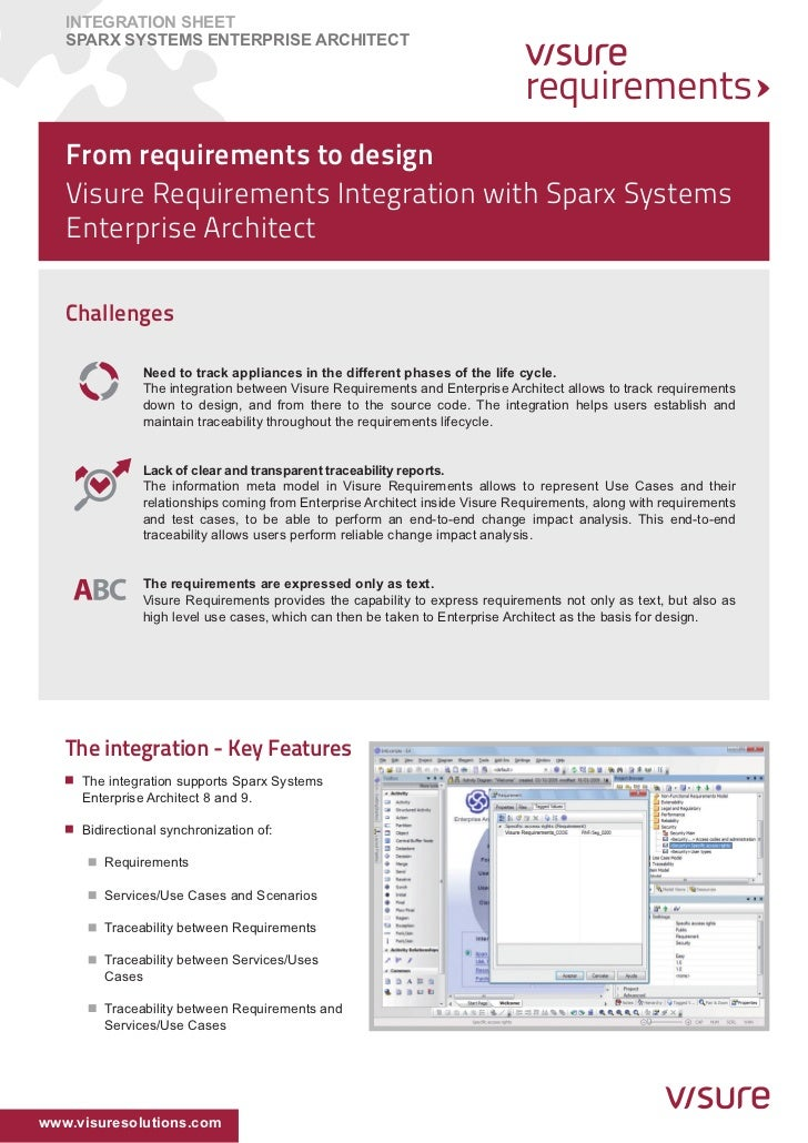 INTEGRATION SHEET   SPARX Systems ENTERPRISE ARCHITECT   From requirements to design   Visure Requirements Integration wit...