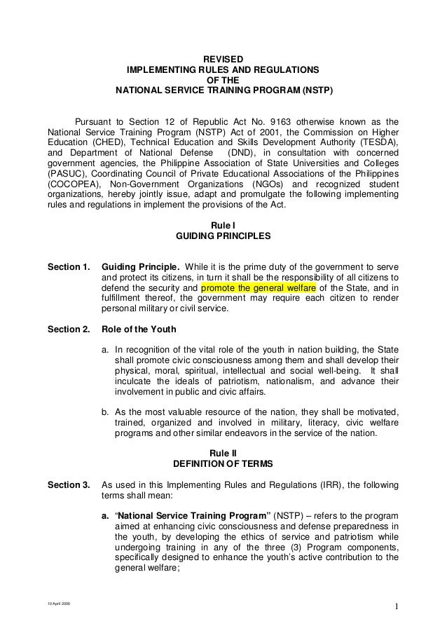10 April 20061REVISEDIMPLEMENTING RULES AND REGULATIONSOF THENATIONAL SERVICE TRAINING PROGRAM (NSTP)Pursuant to Section 1...