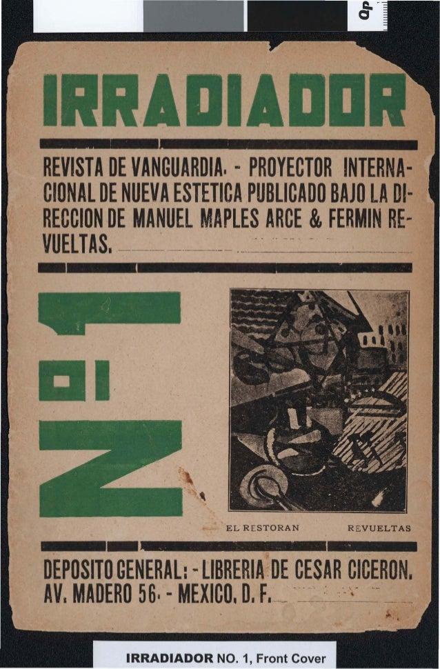 REVISTA DE VANGUARDIA. - PROYECTOR INTERNACIONAL DE NUEVA ESTETICA PUBLICADO BAJO LA 01· RECCION -DE MANUEL MAPlES ARCE & ...