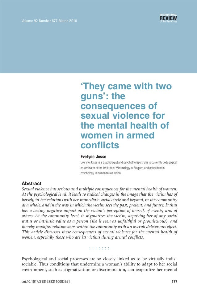 'They came with two guns': the consequences of sexual violence for the mental health of women in armed conflicts Evelyne J...