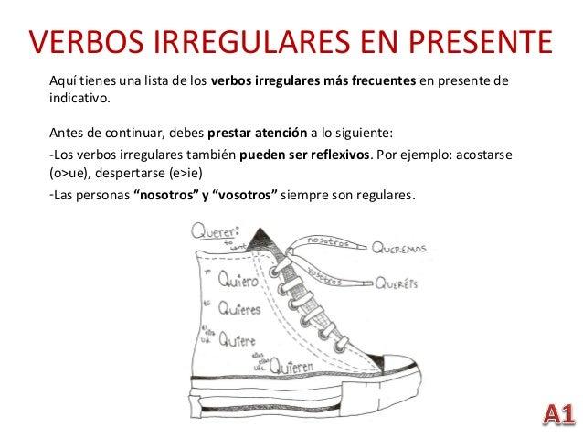 VERBOS IRREGULARES EN PRESENTE Aquí tienes una lista de los verbos irregulares más frecuentes en presente de indicativo. A...