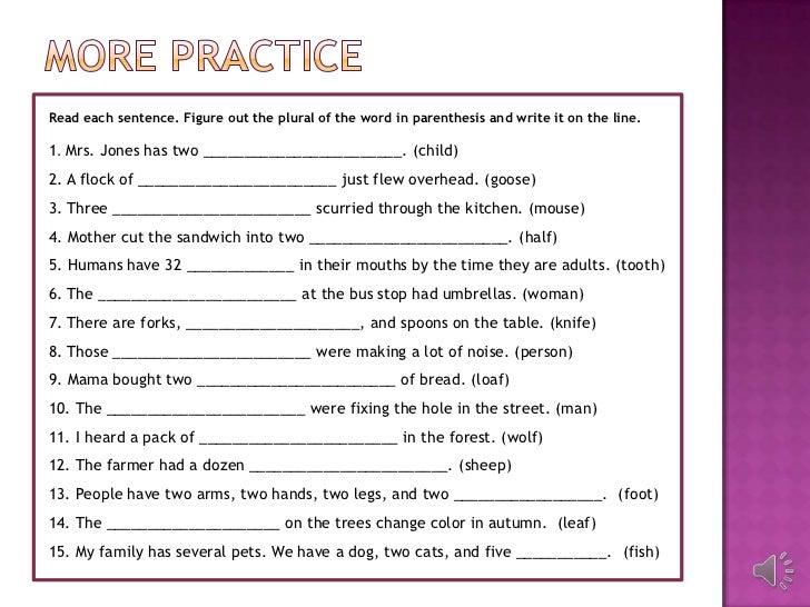 singular and plural nouns exercises