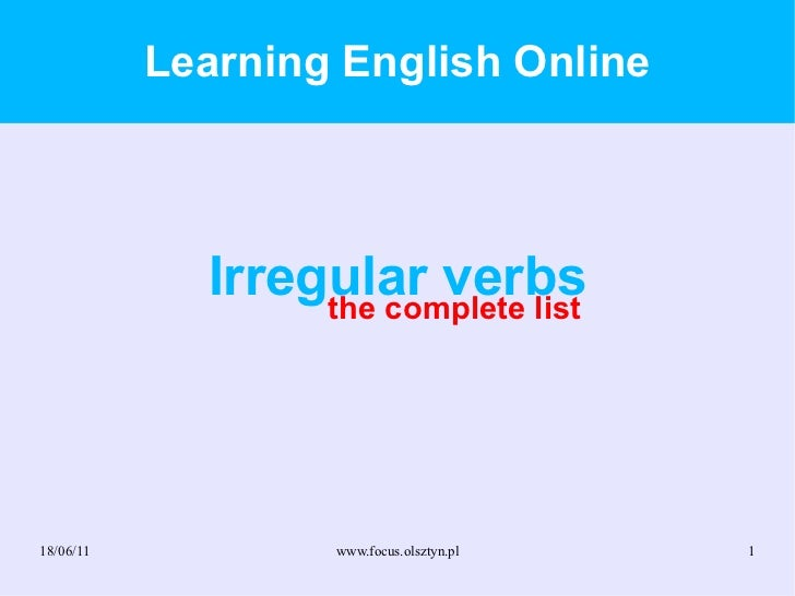 Learning English Online Irregular verbs the complete list