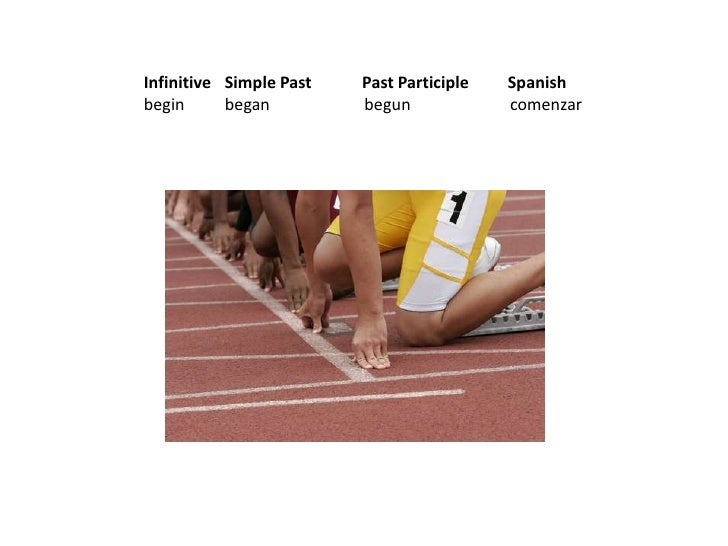 Infinitive  Simple PastPast ParticipleSpanish<br />begin  began                  beguncomenzar<br />